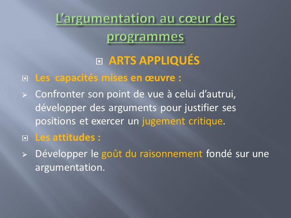 L'argumentation au cœur des programmes