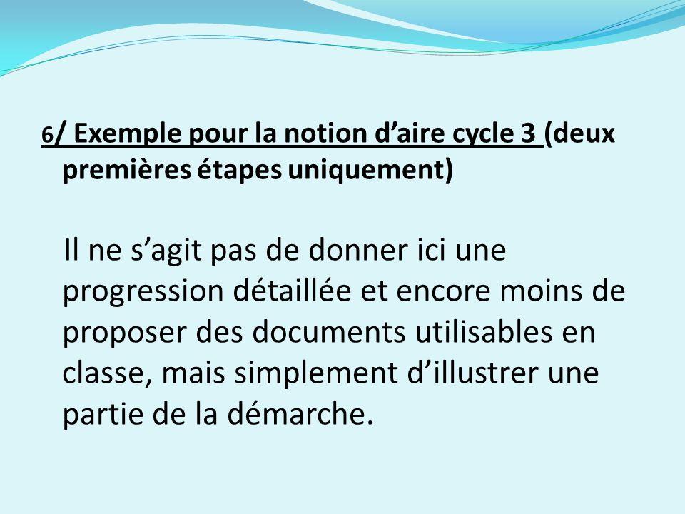 6/ Exemple pour la notion d'aire cycle 3 (deux premières étapes uniquement)