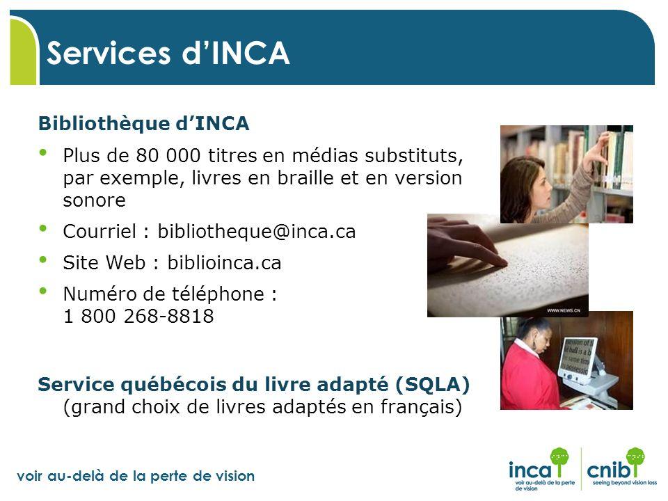 Services d'INCA Bibliothèque d'INCA