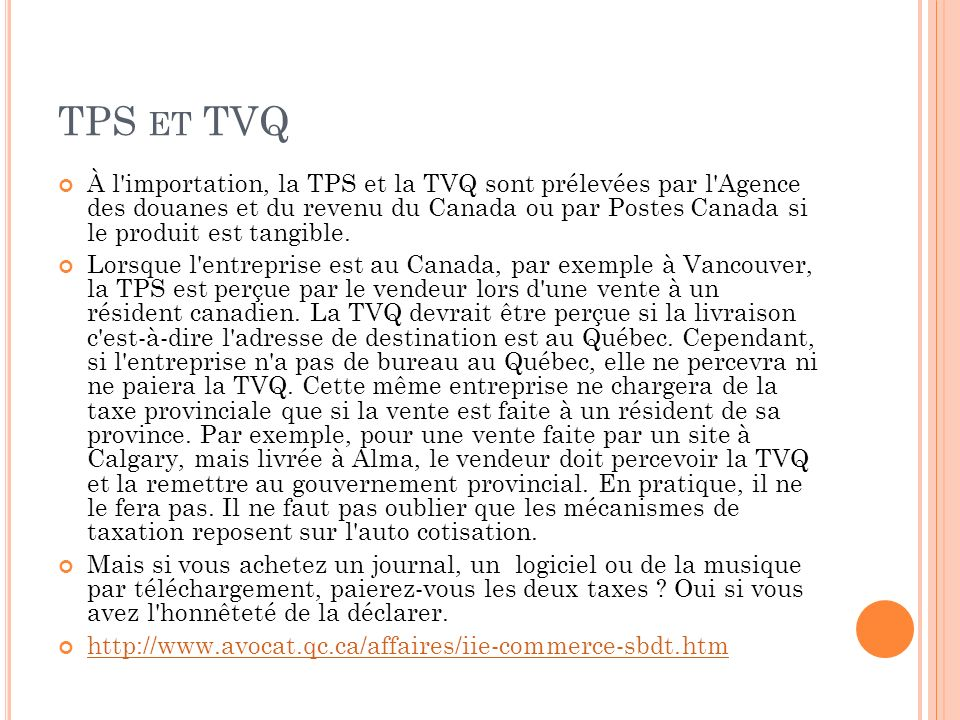 TPS et TVQ