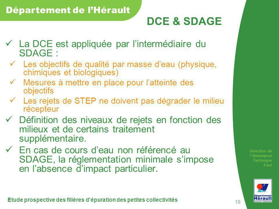 DCE & SDAGE La DCE est appliquée par l'intermédiaire du SDAGE :