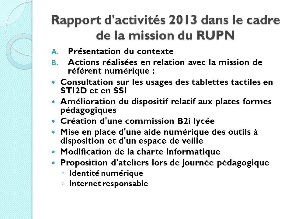 Rapport d activités 2013 dans le cadre de la mission du RUPN
