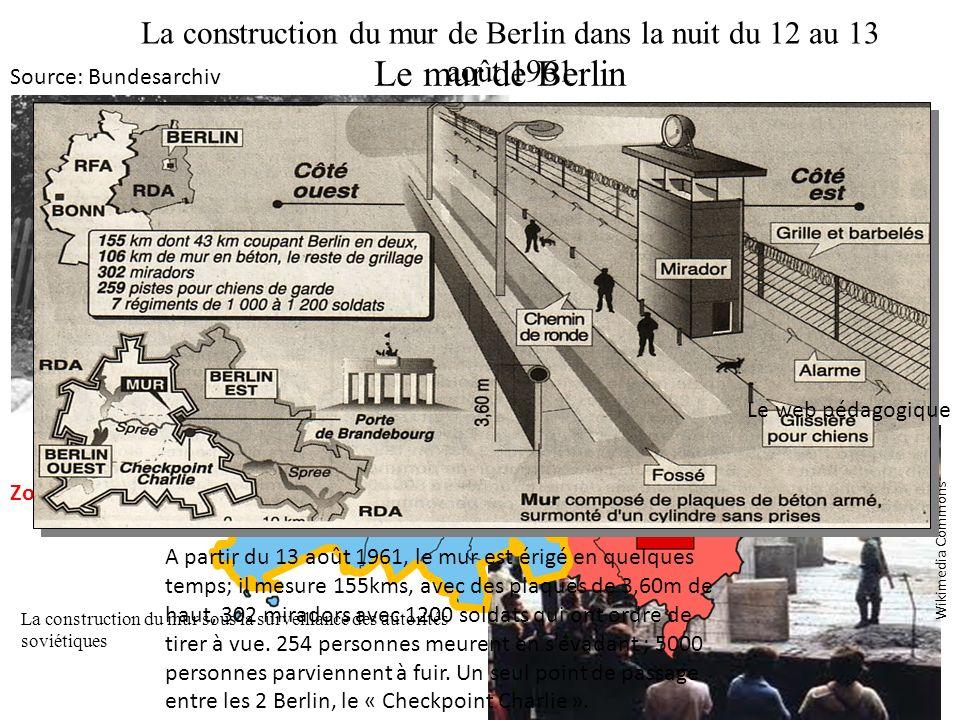 La construction du mur de Berlin dans la nuit du 12 au 13 août 1961