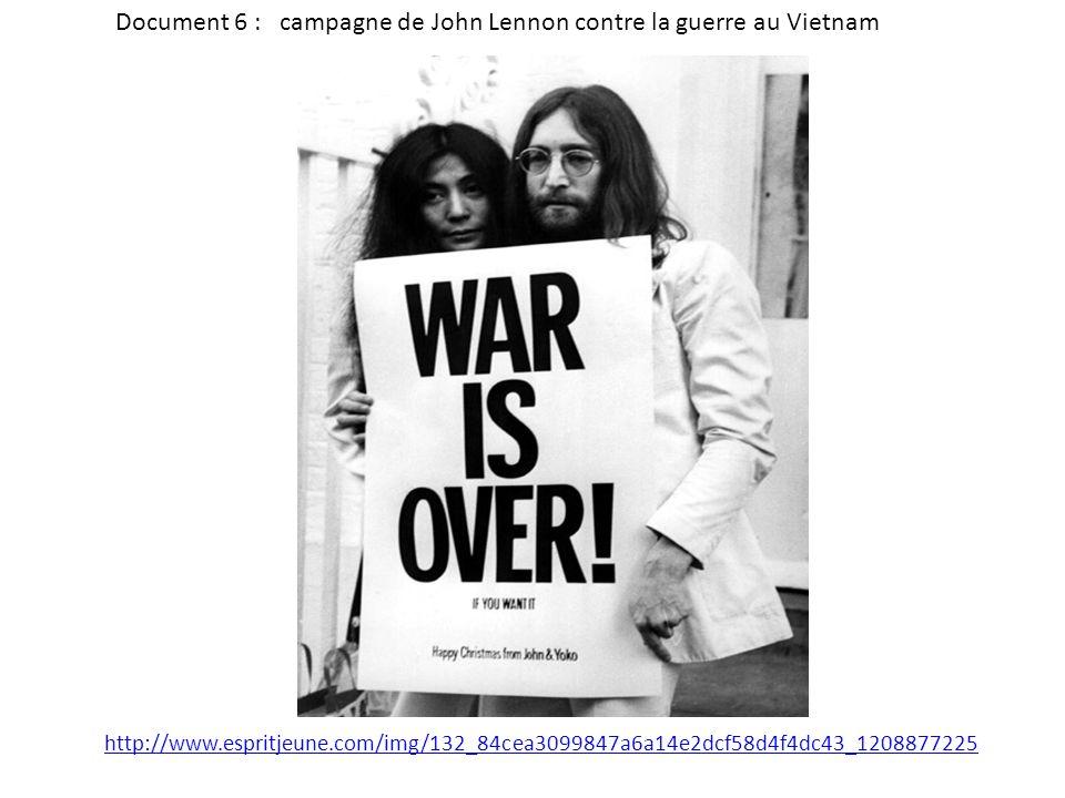 Document 6 : campagne de John Lennon contre la guerre au Vietnam