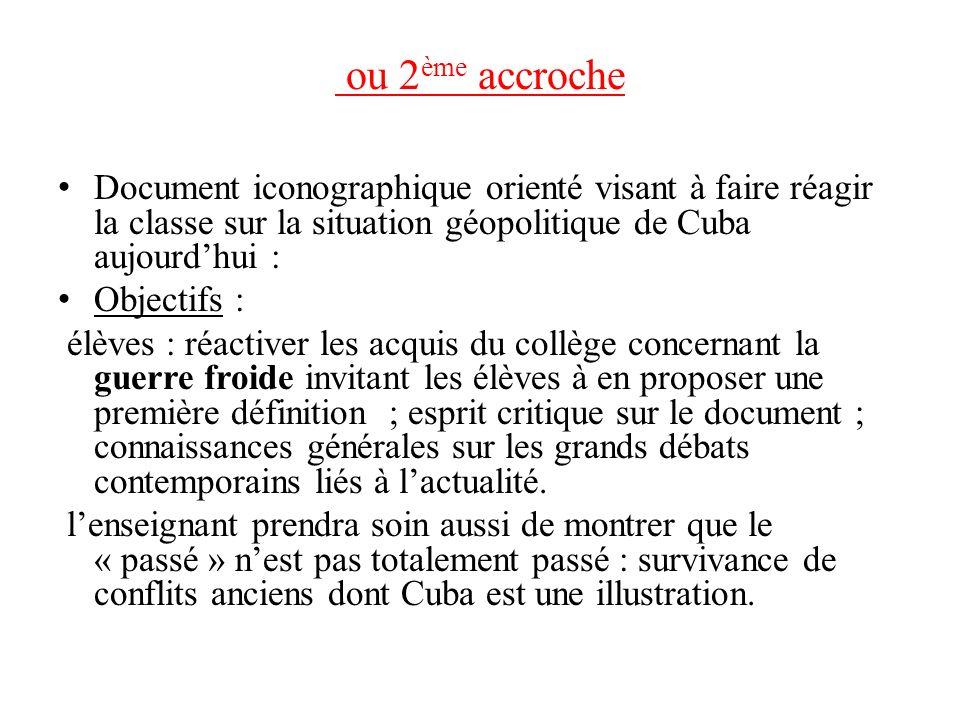 ou 2ème accroche Document iconographique orienté visant à faire réagir la classe sur la situation géopolitique de Cuba aujourd'hui :
