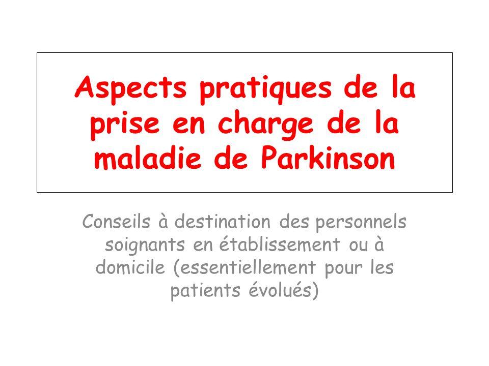 Aspects pratiques de la prise en charge de la maladie de Parkinson