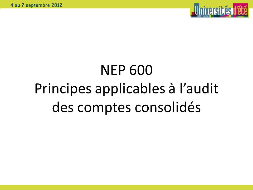 NEP 600 Principes applicables à l'audit des comptes consolidés