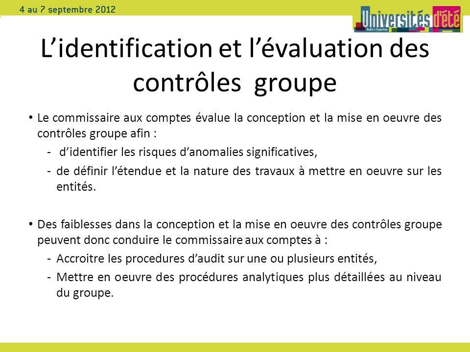 L'identification et l'évaluation des contrôles groupe