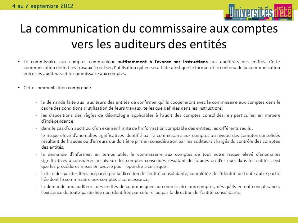 La communication du commissaire aux comptes vers les auditeurs des entités