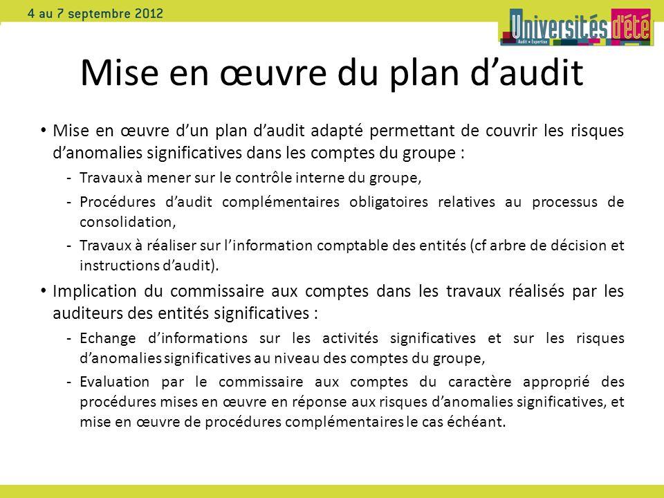 Mise en œuvre du plan d'audit