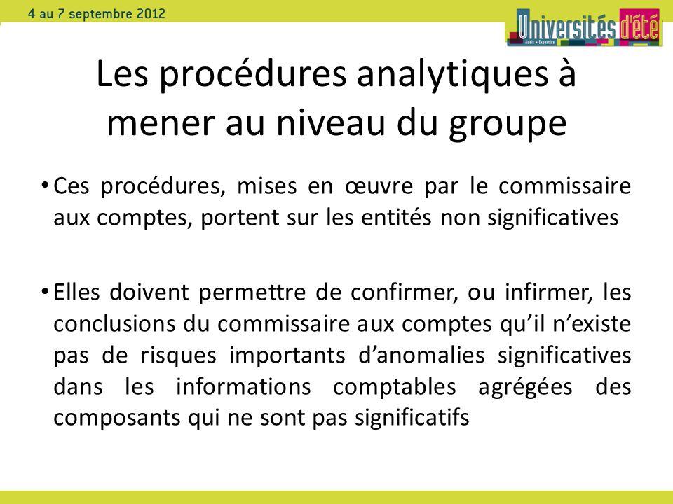 Les procédures analytiques à mener au niveau du groupe