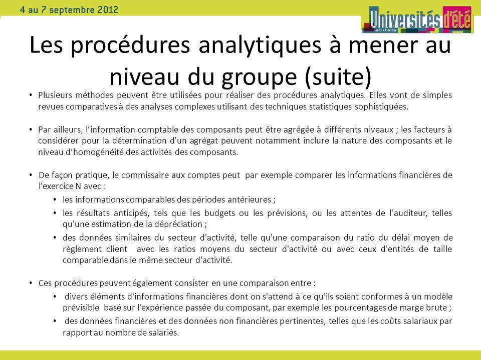 Les procédures analytiques à mener au niveau du groupe (suite)