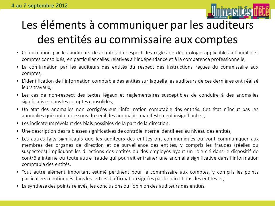 Les éléments à communiquer par les auditeurs des entités au commissaire aux comptes