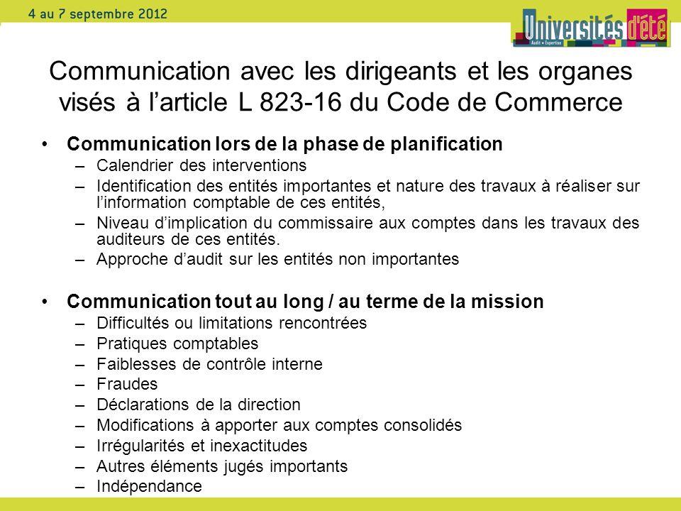 Communication avec les dirigeants et les organes visés à l'article L 823-16 du Code de Commerce