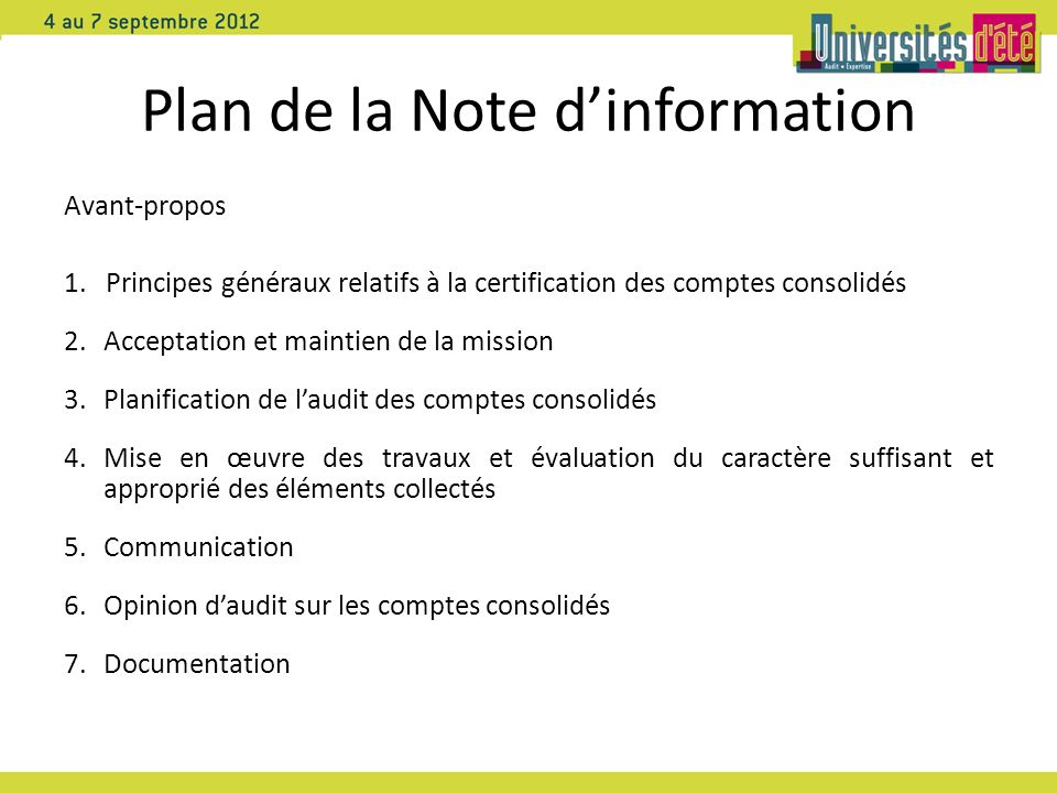 Plan de la Note d'information