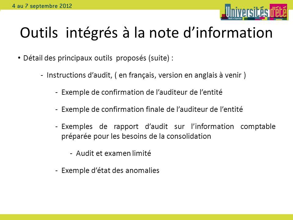 Outils intégrés à la note d'information