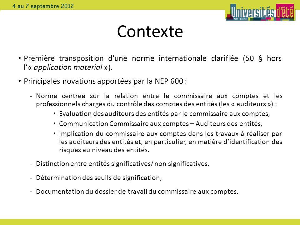 Contexte Première transposition d'une norme internationale clarifiée (50 § hors l'« application material »).