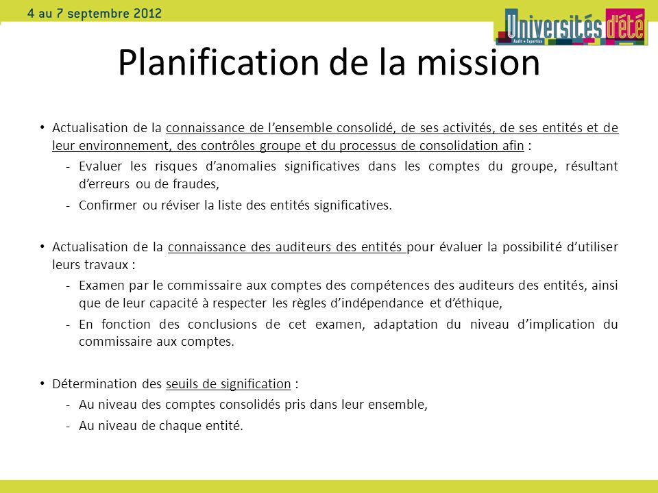 Planification de la mission