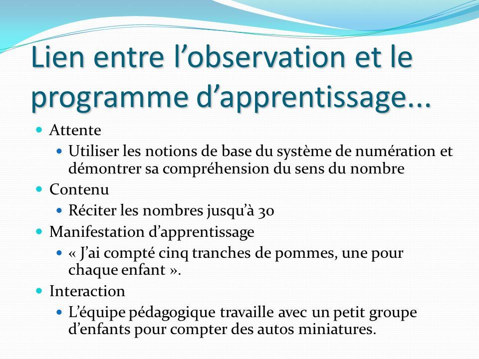 Lien entre l'observation et le programme d'apprentissage...