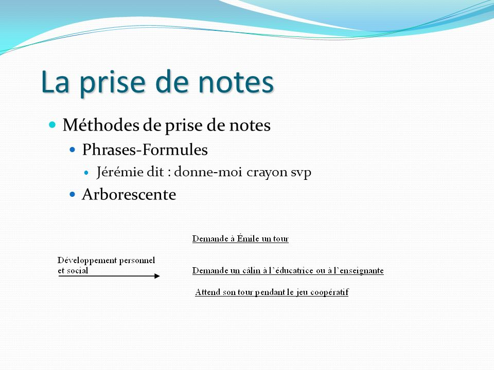 La prise de notes Méthodes de prise de notes Phrases-Formules