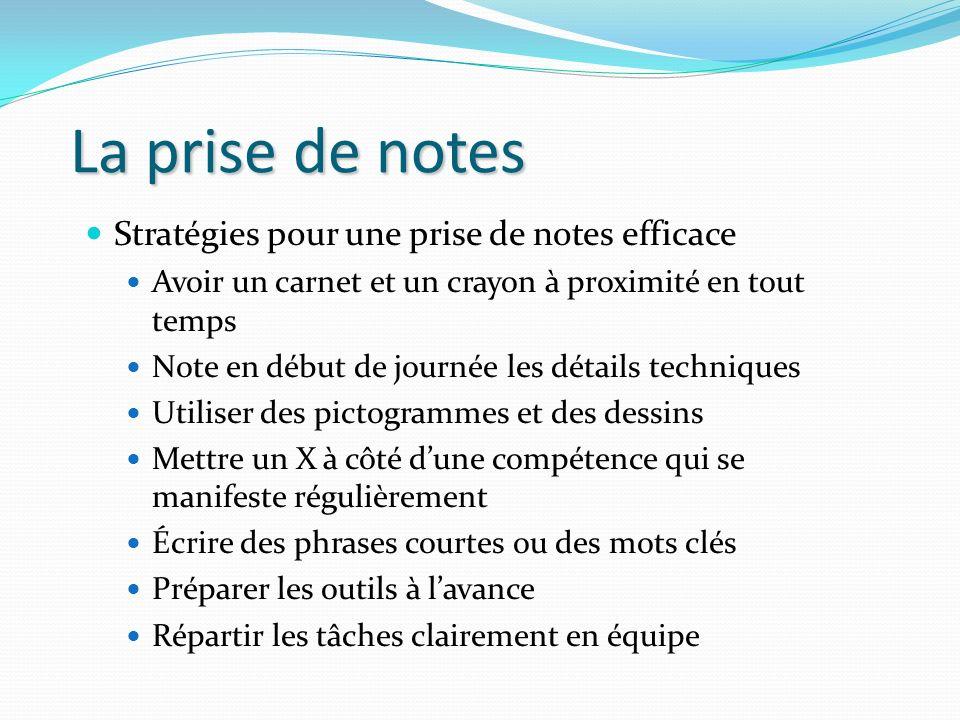 La prise de notes Stratégies pour une prise de notes efficace