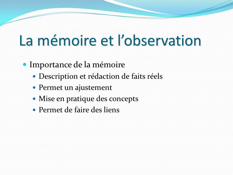 La mémoire et l'observation