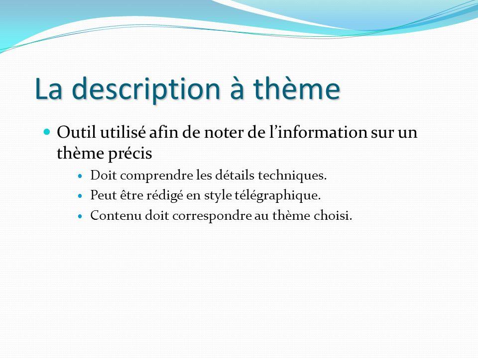 La description à thème Outil utilisé afin de noter de l'information sur un thème précis. Doit comprendre les détails techniques.