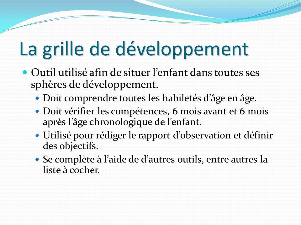 La grille de développement