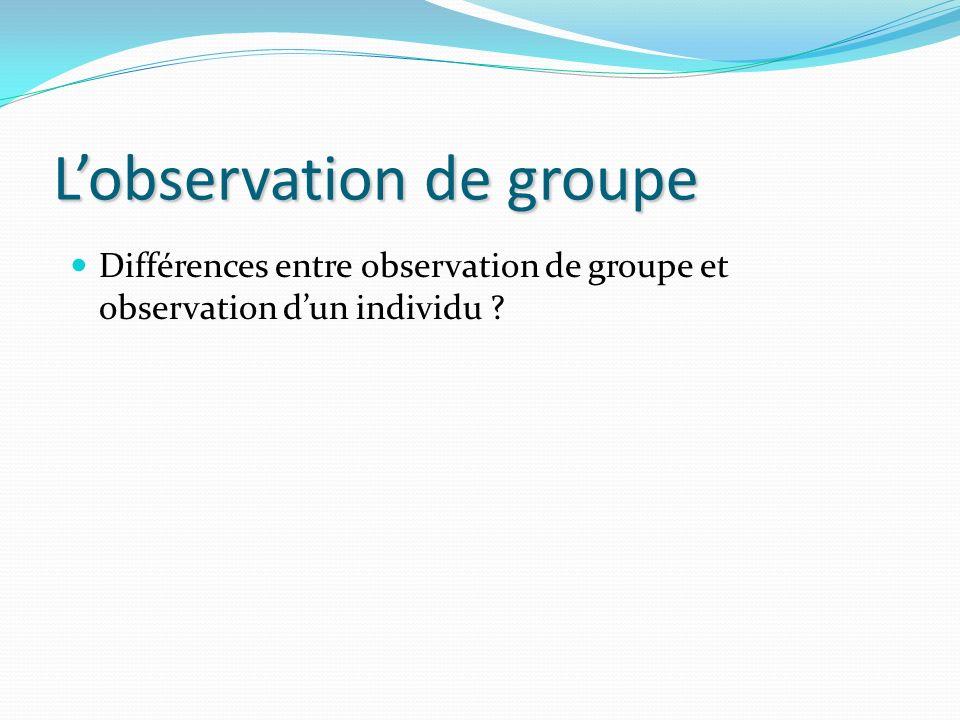 L'observation de groupe