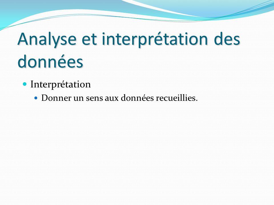 Analyse et interprétation des données