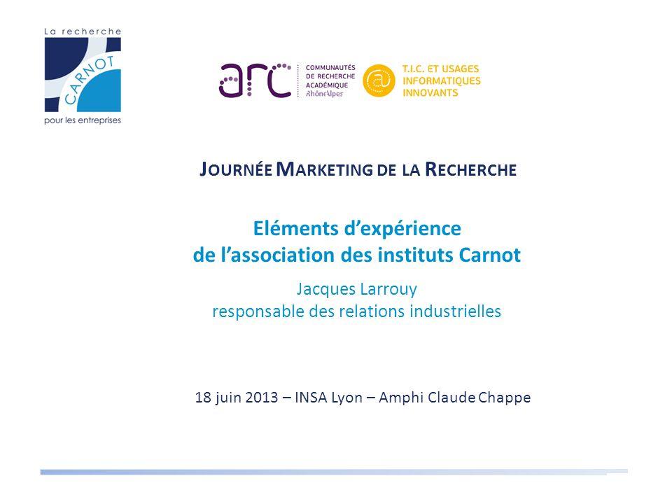 Eléments d'expérience de l'association des instituts Carnot