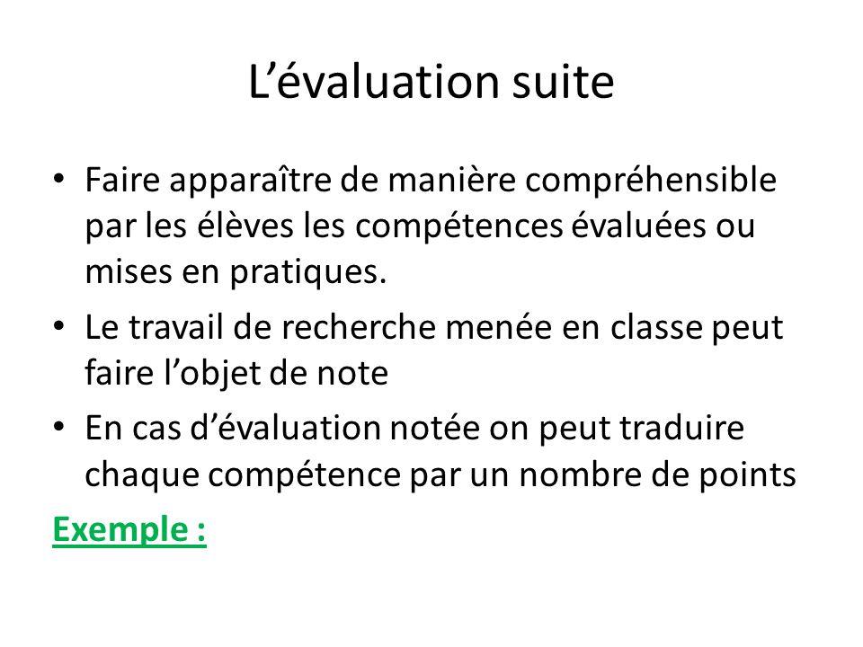 L'évaluation suite Faire apparaître de manière compréhensible par les élèves les compétences évaluées ou mises en pratiques.