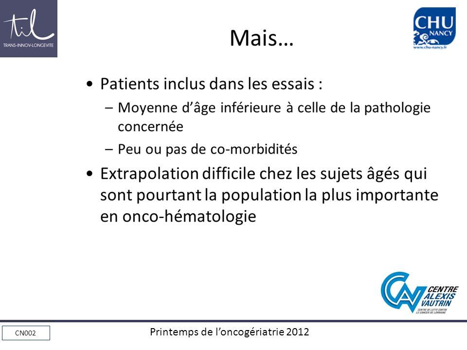 Mais… Patients inclus dans les essais :