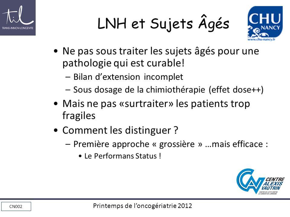 LNH et Sujets Âgés Ne pas sous traiter les sujets âgés pour une pathologie qui est curable! Bilan d'extension incomplet.