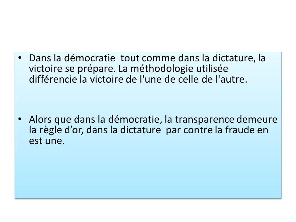 Dans la démocratie tout comme dans la dictature, la victoire se prépare. La méthodologie utilisée différencie la victoire de l une de celle de l autre.