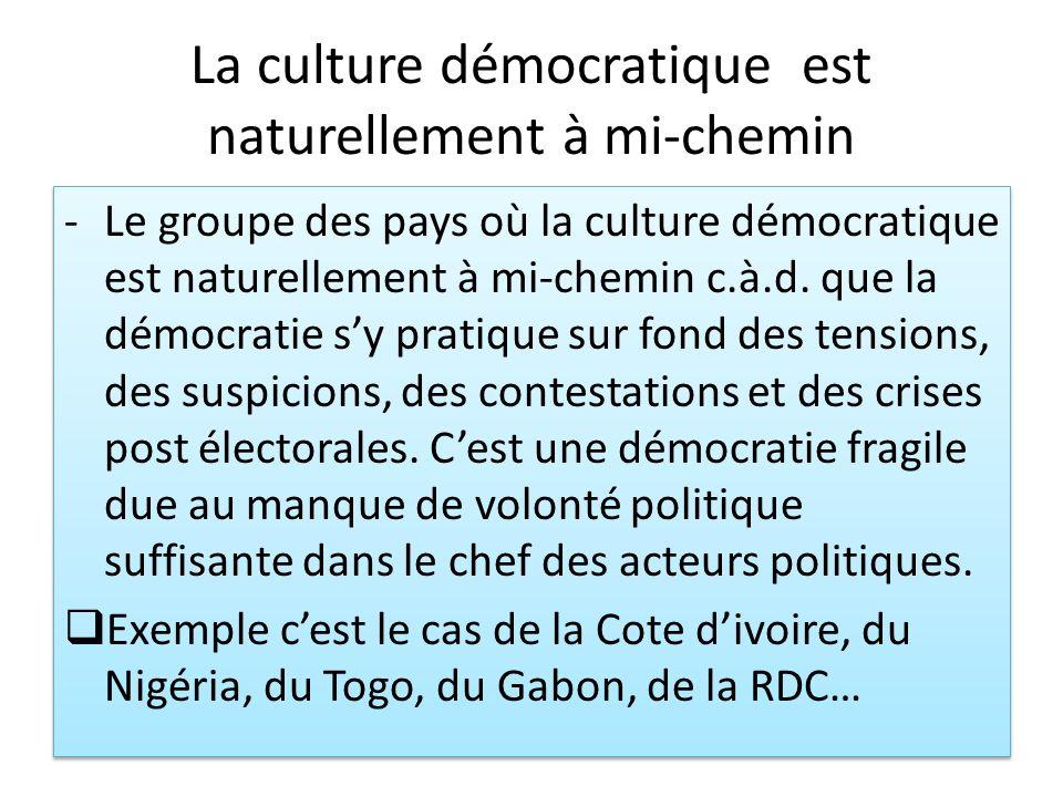 La culture démocratique est naturellement à mi-chemin