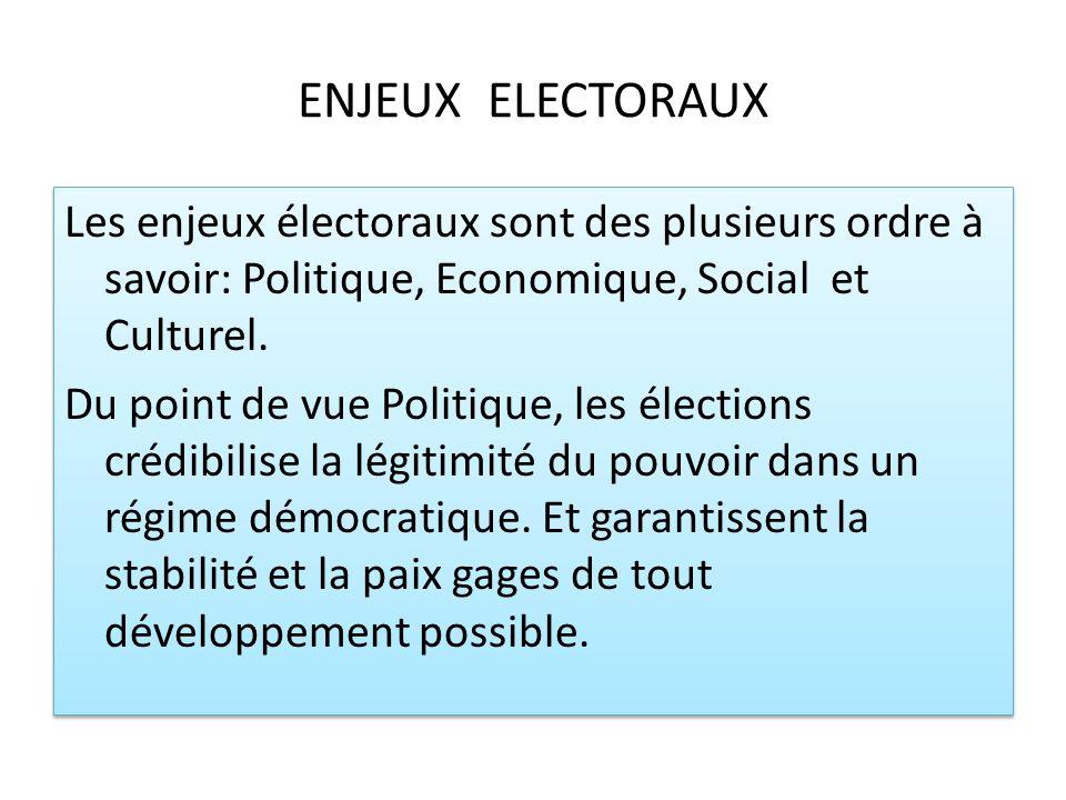 ENJEUX ELECTORAUX