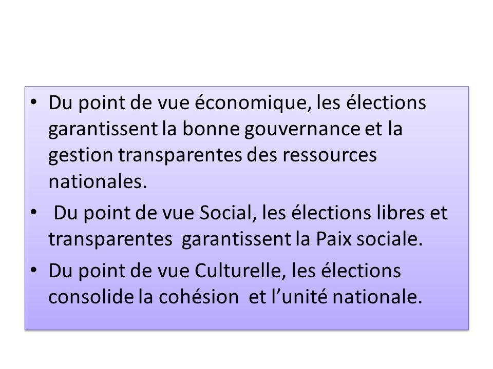 Du point de vue économique, les élections garantissent la bonne gouvernance et la gestion transparentes des ressources nationales.
