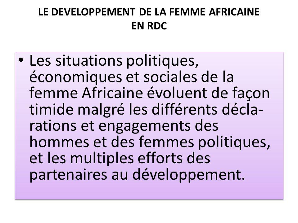 LE DEVELOPPEMENT DE LA FEMME AFRICAINE EN RDC