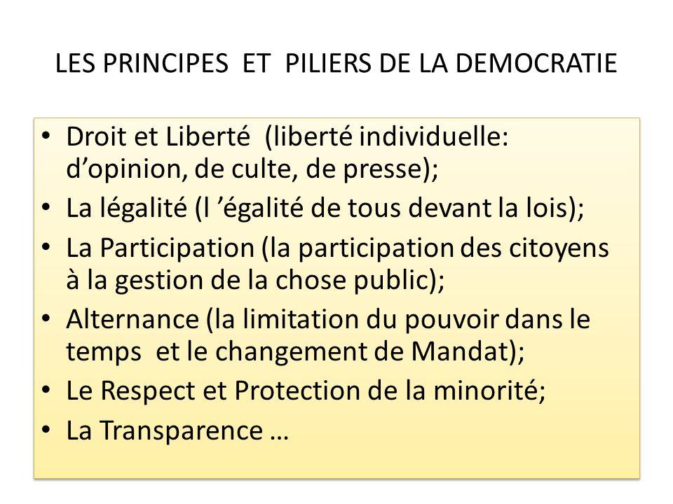 LES PRINCIPES ET PILIERS DE LA DEMOCRATIE