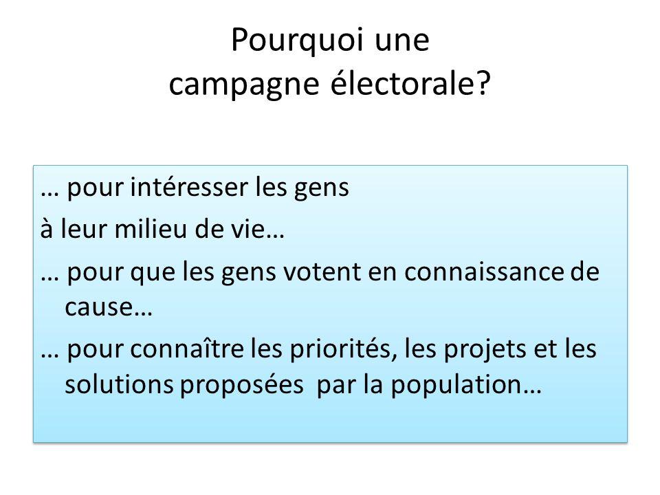 Pourquoi une campagne électorale