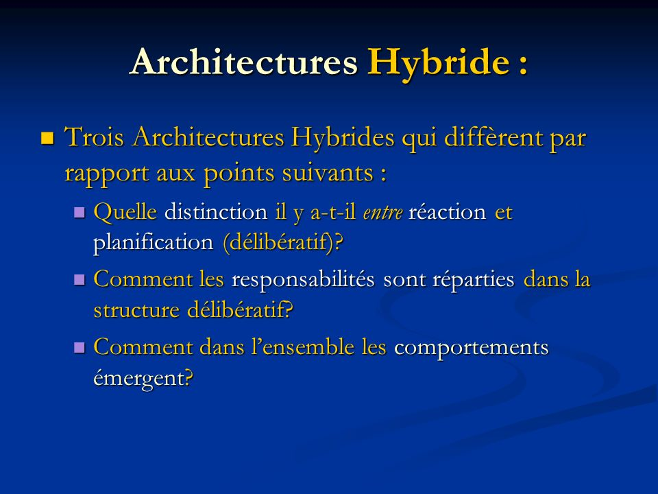 Architectures Hybride :