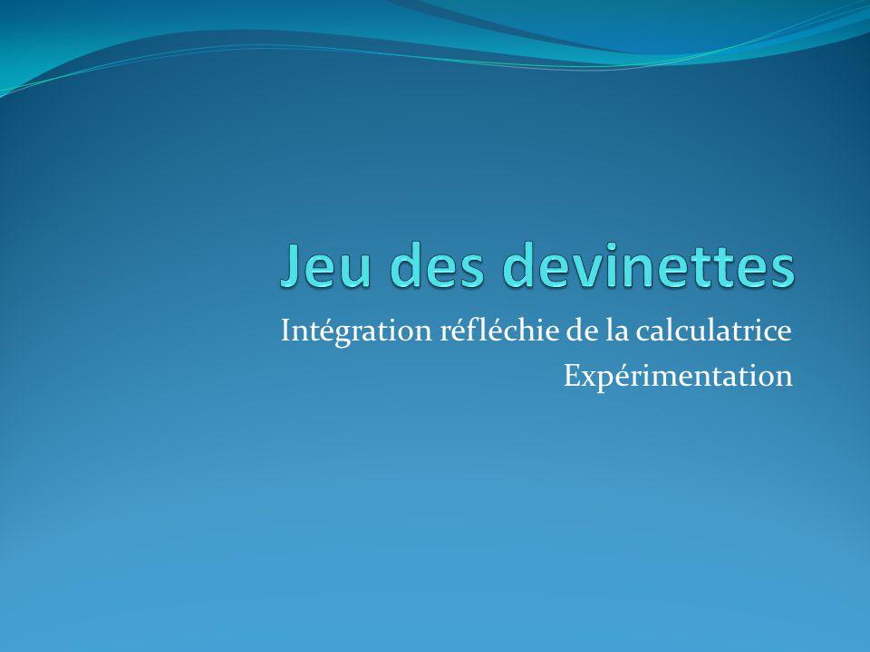 Intégration réfléchie de la calculatrice Expérimentation