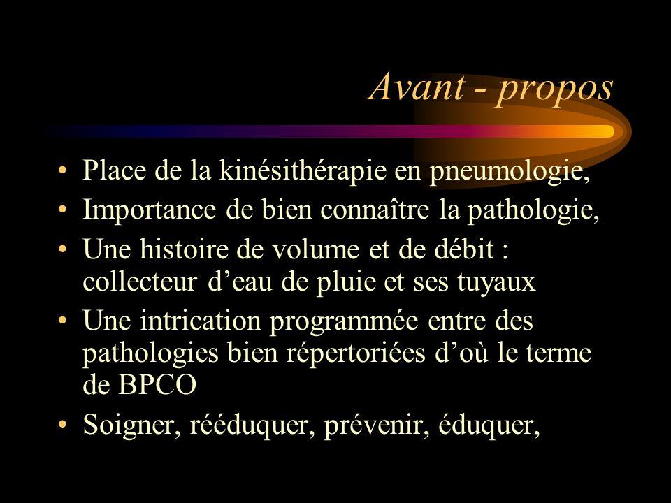 Avant - propos Place de la kinésithérapie en pneumologie,