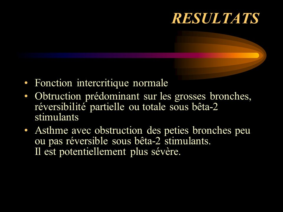 RESULTATS Fonction intercritique normale