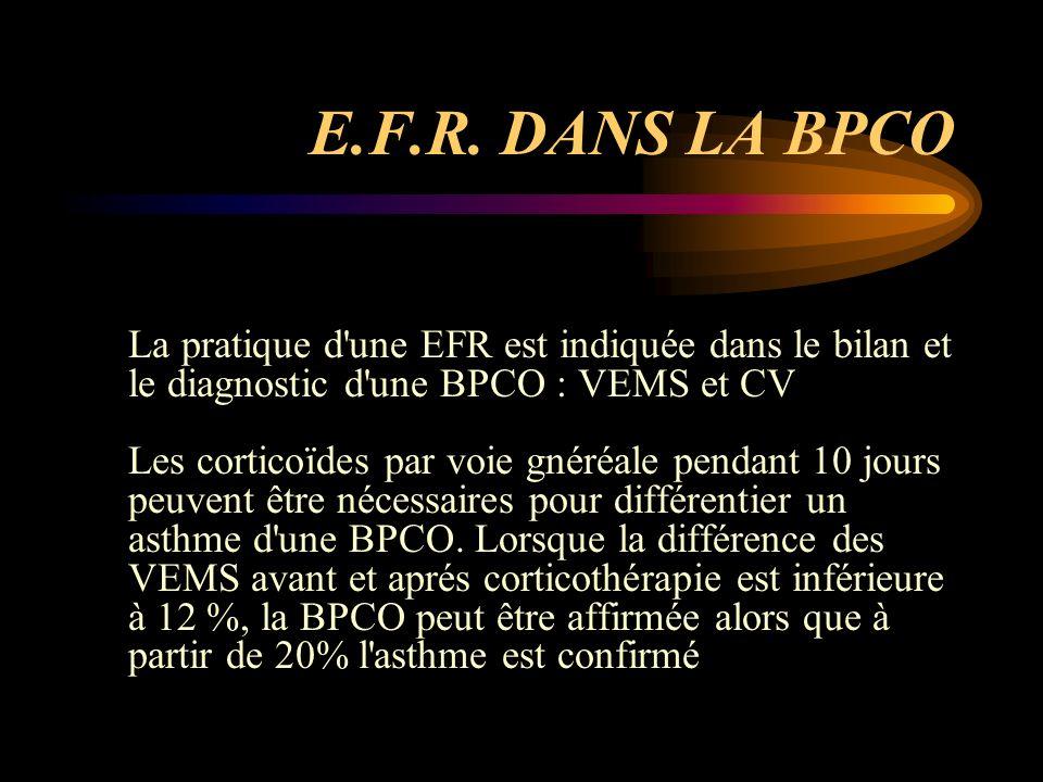 E.F.R. DANS LA BPCO