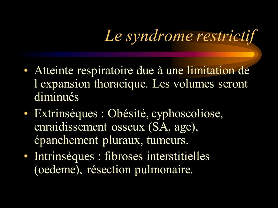 Le syndrome restrictif