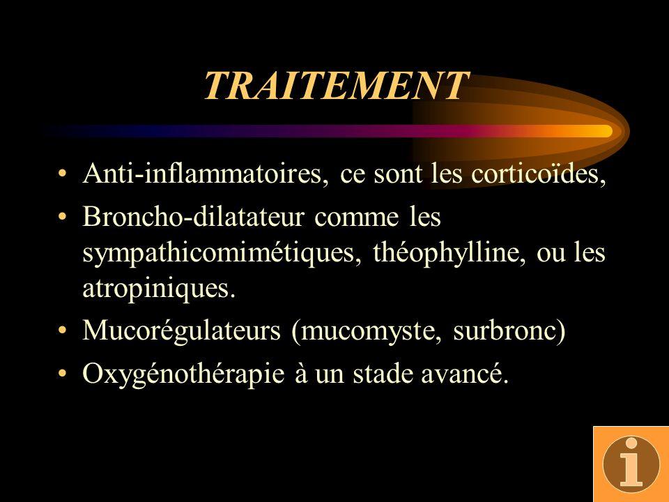 TRAITEMENT Anti-inflammatoires, ce sont les corticoïdes,