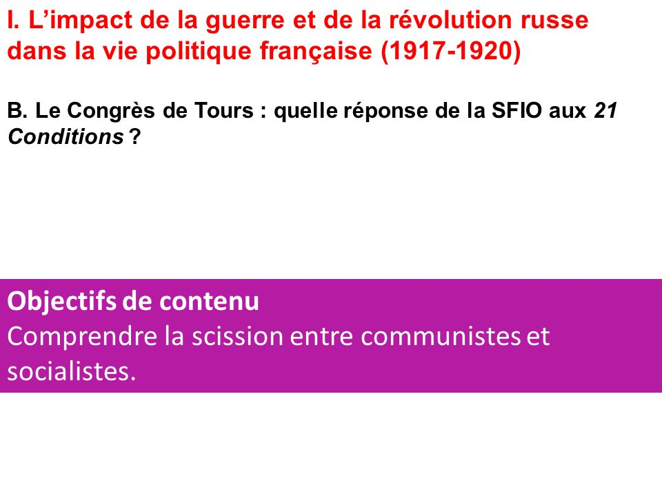Comprendre la scission entre communistes et socialistes.