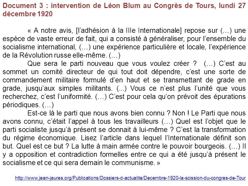 Document 3 : intervention de Léon Blum au Congrès de Tours, lundi 27 décembre 1920